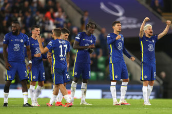 Chelsea teammates celebrate a Kepa Arrizabalaga save during the UEFA Super Cup penalty shootout in Belfast.