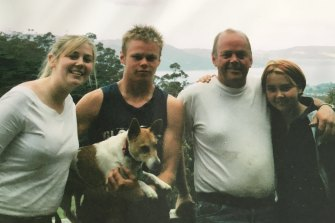 Tony Wilson (second from right) with his children, L-R: Amy, Shane, and Ellanah, in 2004.
