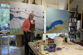 John Olsen continues working daily in his Southern Highlands studio. Here he is with some of his Sydney Harbour inspired work.