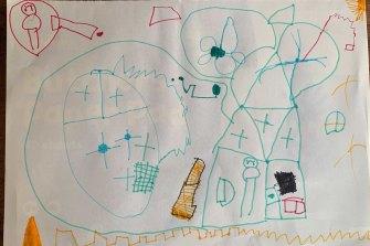 Freddie, 5, draws his understanding of lockdown.