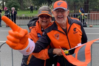 Giants' fans Celia Carroll and Flavio Varnier.