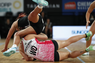 Over the top: The Magpies edged out the Thunderbirds.