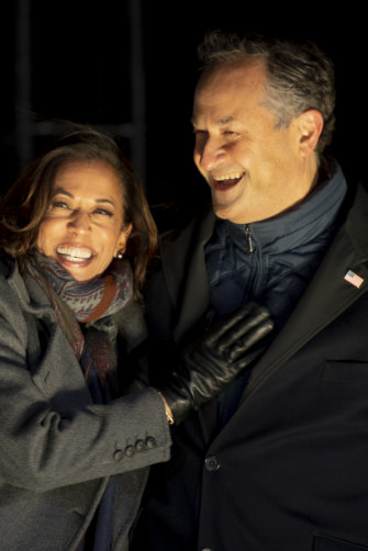 Kamala Harris on the campaign trail with lawyer husband Doug Emhoff, whom she met on a blind date.
