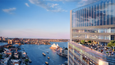 Artist impression of the planned $1.5b Lendlease office tower at Circular Quay, Sydney.