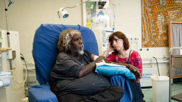 Purple House chairman Bobby West Tjupurrula and CEO Sarah Brown in Alice Springs.