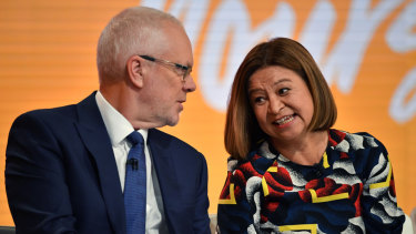 Hitting back at critics: ABC chairman Justin Milne pictured with managing director Michelle Guthrie.