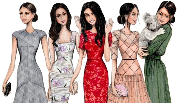 Illustrator Alexandra Nea has captured a series of 'fantasy' outfits for Meghan Markle's Australian visit to coincide with Frocktober.