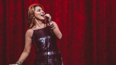 Shania Twain at Rod Laver Arena on Tuesday night.