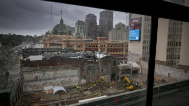 The dig site on Swanston Street.