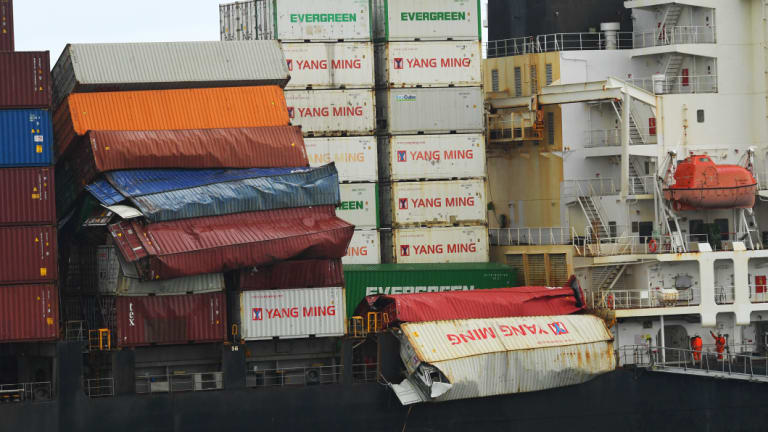 Damaged containers on the cargo ship YM Efficiency, which arrived at Port Botany in Sydney on Wednesday.