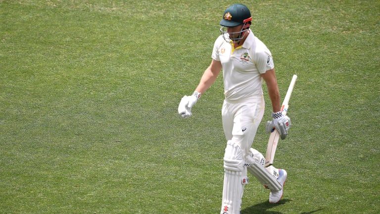 Shaun Marsh leaves the field after being dismissed for two in Adelaide on Friday.