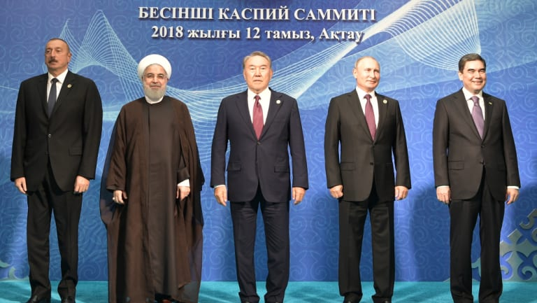 From left: President of Azerbaijan Ilham Aliyev, Iranian President Hassan Rouhani, Kazakhstan President Nursultan Nazarbayev, Russian President Vladimir Putin and Turkmenistan President Gurbanguly Berdimuhamedow at the fifth Caspian summit at the Friendship Palace in Aktau, the Caspian Sea port in Kazakhstan, on Sunday.