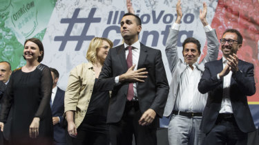 Five Star leader and Italian Deputy Prime Minister Luigi Di Maio addresses a rally in Rome on Saturday.