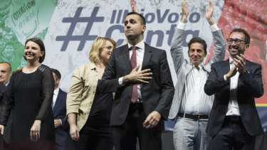 Not all smooth sailing: Five Star leader and Italian Deputy Prime Minister Luigi Di Maio addresses a rally in Rome.
