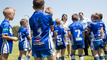Assembly: NSW Premier Gladys Berejiklian and Minister for Sport, Stuart Ayres, meet boys from the Brothers Penrith Junior Rugby League team in January.