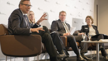 CSIRO chairman David Thodey, Industry Department head Heather Smith, top NSW public servant Blair Comley and DFAT secretary Frances Adamson at the recent policy forum.