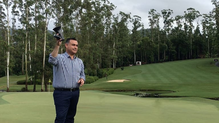 NSW Deputy Premier John Barilaro at the Pro Am event at the inaugural Australian Ladies Classic at the Bonville Golf Resort.