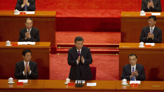 Chinese President Xi Jinping with members of the Communist Party.