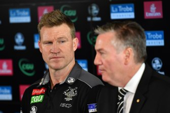 Collingwood coach Nathan Buckley with president Eddie McGuire.