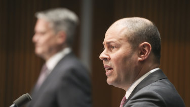 "Treasurer Josh Frydenberg: ""This is a half a billion improvement from what was estimated in terms of the deficit, but a $93 billion deterioration forecast [from] the end of the last year."""
