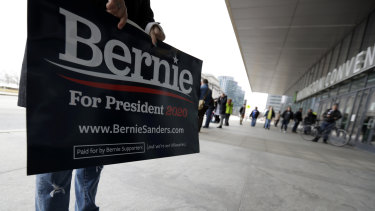 A supporter of Democratic presidential candidate Senator Bernie Sanders in Cleveland.