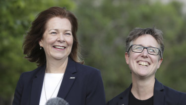 ACTU president Michele O'Neil and secretary Sally McManus celebrate the Ensuring Integrity Bill's defeat in the Senate on Thursday.
