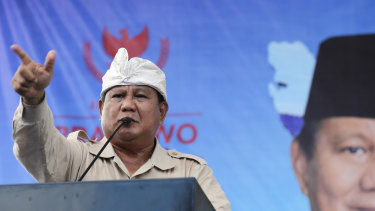 "Prabowo Subianto campaigns in Bali. He wants to make Indonesia ""great again""."