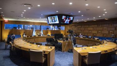 UN Secretary-General Antonio Guterres addresses a meeting at the UN.