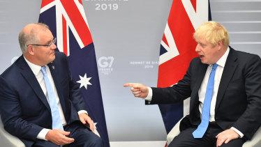 Prime Minister Scott Morrison met British Prime Minister Boris Johnson for a chat in Biarritz, France.