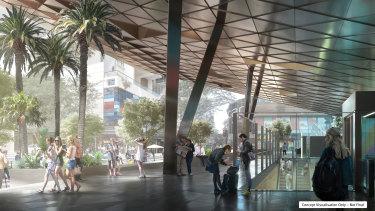 A design concept of the Cross River Rail's Albert Street station.