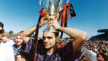 Michael Long with the 1993 premiership cup.