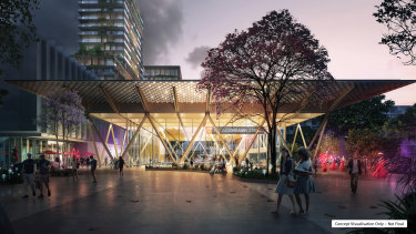 A Cross River Rail concept design image of the upgraded Woolloongabba station.