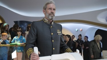 Hugh Laurie plays the captain of a residential space liner in the sci-fi spoof Avenue 5 on Foxtel.