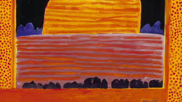 "Uluru, 2004 (detail), by Ken Done. ""A symbol of Australia, as significant as the Opera House and the Harbour Bridge, with respect for the importance of Uluru and Indigenous culture,'' says the artist."