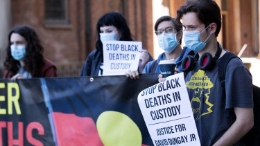 Black Lives Matter supporters outside the NSW Supreme Court.