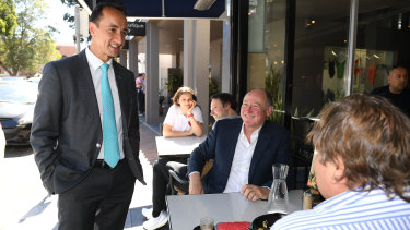 Dave Sharma speaks to locals at a Double Bay cafe on Friday.