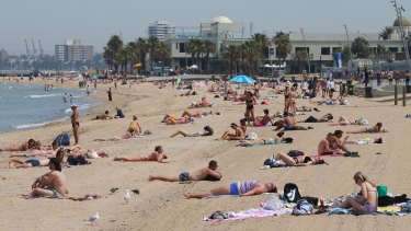 Melburnians flocked to St Kilda beach on Wednesday to escape the heat, and were expected to do the same on Friday.
