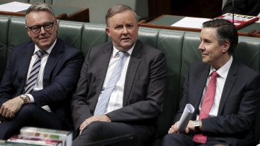 Joel Fitzgibbon, left, says jobs are more important than interim carbon targets, while Labor Leader Anthony Albanese and environment spokesman Mark Butler prepare to announce Labor's 2030 target.
