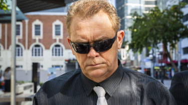 Senior Constable Neil Punchard leaves the Magistrates Court on Monday after pleading guilty.