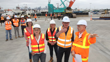 Premier Daniel Andrews touring the West Gate Tunnel site in December last year.