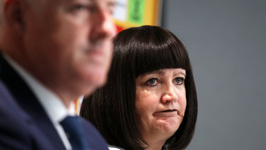 Rugby Australia chairman Cameron Clyne and chief executive Raelene Castle.