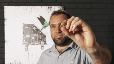 Morse Micro co-founder and chief executive Michael De Nil with one of the HaLow Wi-Fi chips.