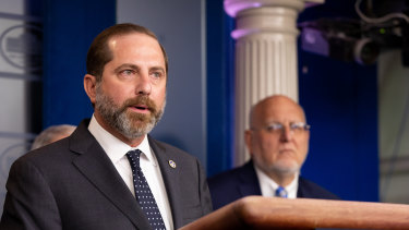 Alex Azar, secretary of Health and Human Services, speaks during a news conference in the briefing room of the White House in Washington, DC.