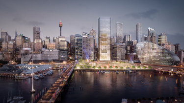 An artist's impression of the Cockle Bay redevelopment, which features a 183 metre office tower, retail precinct and park.