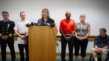 Dayton mayor Nan Whaley addresses the press after the shooting.