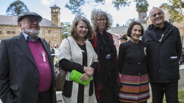 From left: Authors Tom and Meg Keneally, president of the Parramatta Female Factory Friends Gay Hendriksen, former NSW governor Marie Bashir and author and filmmaker John Pilger.