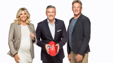 Rebecca Maddern, Eddie McGuire and Sam Newman on the Footy Show in 2018.