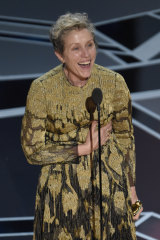Frances McDormand accepting her Oscar for <i>Three Billboards Outside Ebbing, Missouri<i>.