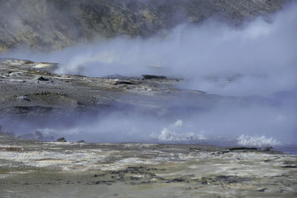 Hot mud, steam and sulphurous gases spit from vents on the tip of the volcano.