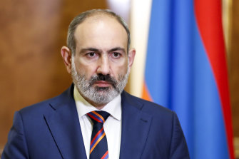 Armenian Prime Minister Nikol Pashinian speaks at the Armenian Parliament in Yerevan, Armenia, on Sunday.